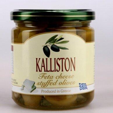 """Žaliosios alyvuogės """"KALLISTON"""" su fetos sūriu, 400 ml."""
