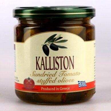 """Žaliosios alyvuogės """"KALLISTON"""" su saulėje dž. pomidorais, 400 ml."""